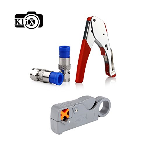 Klix Compression for Connector Tool Cable Stripper RG6 Fitting -Red by Klix