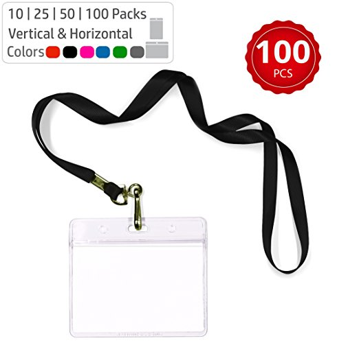 Durably Woven Lanyards & Horizontal ID Badge Holders ~Premium Quality, Waterproof & Dustproof ~ for Moms, Teachers, Tours, Events, Businesses, Cruises & More (100 Pack, Black) by Stationery King