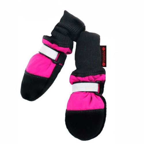 Fleece Lined Muttluks Dog Boots Set of 4 - Pink, Large 3.75