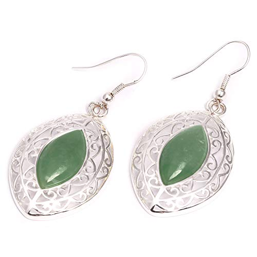 GEM-inside Earrings Green Aventurine Jade Gemstone Beads Rhombic Natural Tibetan Silver Dangle Stud Hoop Fashion Jewelry for Woman - Beads Green Earring Jade