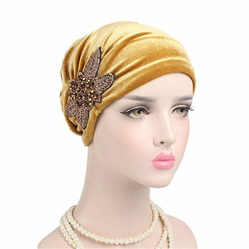 - Qhome Fashion Women's Elegant Soft Velvet Turban Beanie with Beaded Flower Hat Chemo Cap Liner For Cancer Hair Loss Ladies