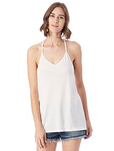 Alternative Women's Satin Jersey Strappy Tank, White, (Strappy Jersey Top)