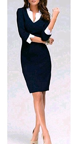 Neck V Coolred Blue Work Sleeve Slim Dress Pieces Dark Long Women Mid Stylish Office Two Fake xPAvg