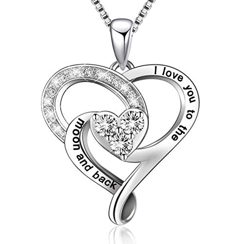 (MUATOGIML 925 Sterling Silver I Love You to The Moon and Back Heart Pendant Necklace, 18 Inch Box)