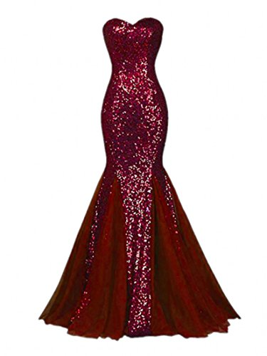 Sequin Ball - Raniwish Sparkly Evening Prom Ball Gown Sequins Mermaid Long Formal Dress-14-Burgundy
