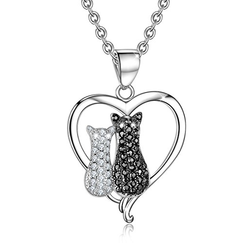 YAXING Sterling Silver Two-tone Cubic Zircon Couple Cat Pendant - Two Tone Cat