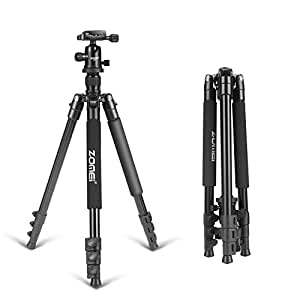 ZOMEI 64.5-Inch Lightweight Aluminum Camera Tripod With Bag, and Ball Head For Canon, Nikon, Sony, Samsung, Panasonic, Olympus, Fuji DSLR And Camcorders