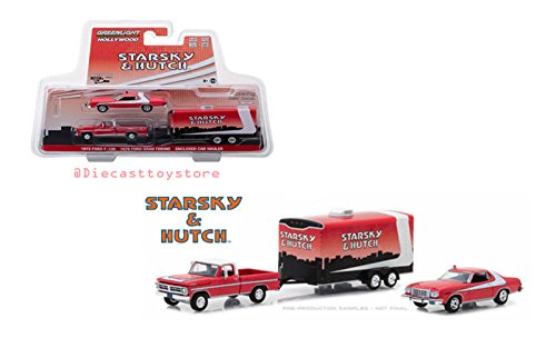 Greenlight Hollywood Hitch & Tow Series 5 Starsky & Hutch 1972 Ford F-100 & 1976 Ford Gran Torino in Enclosed Car Hauler 1/64 Diecast Vehicle