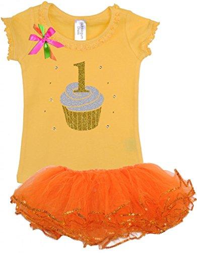 Bubblegum Divas Baby Girls' 1st Birthday Cupcake Orange T...