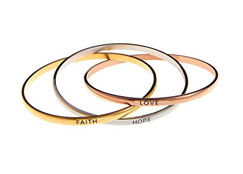 """Faith Hope Love"" Tri Color Stainless Steel Bangle Inscription Message Bracelet Cuff"