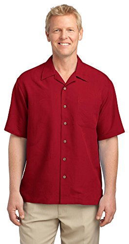 Port Authority Patterned Easy Care Camp Shirt, Persian Red, X-Large