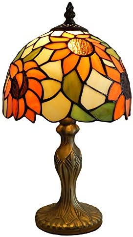 Mural Times Lighting Tiffany Lamp W8H14 Inch Sunflower Handmade Stained Glass Lampshade