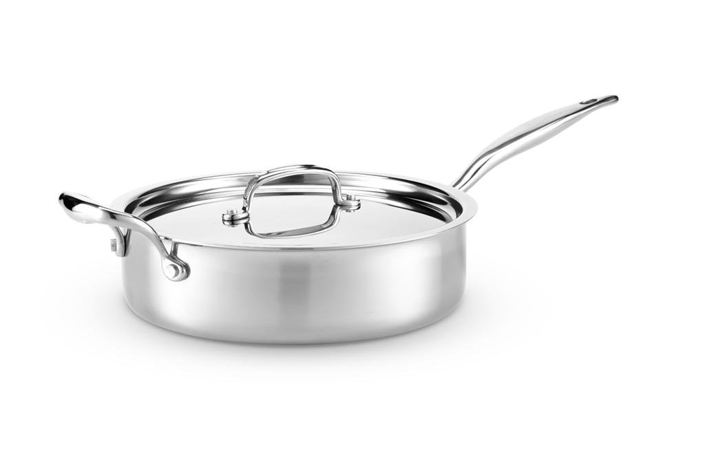 Hammer Stahl HSC-14011 Sauté Pan with Lid 7-Ply Cookware with 316Ti Made in USA 4 quart Stainless Steel