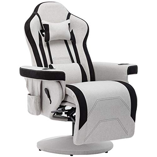 ECOTOUGE PC Gaming Computer Chair with Footrest, Ergonomic High Back Video Racing Recliner Chair, 360 Degree Swivel Chair for Home Office Use Upholstered Fabric, Grey
