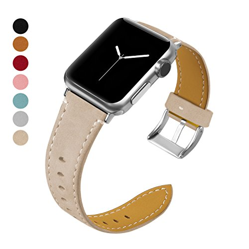 MIFFO for Apple Watch Band 38mm 42mm, Genuine Leather Wristband Replacement Strap Bracelet for iWatch Bands Series 3, Series 2, Series 1, Sport, Edition, Hermes (Apricot, ()