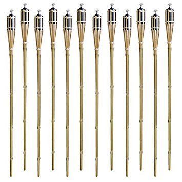 Set of 12 Bamboo Tiki Torches Tiki-Style Metal Oil Canister 48' Length By Tzipco