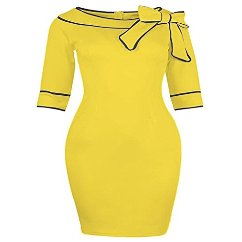 [Doress Women's Celebrity Vintage Pencil Dress (XX-Large, Yellow)] (60s Dress Up Ideas)
