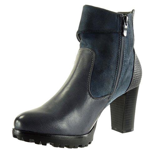 Material Women's 8 Heel Block Biker Booty Snakeskin Braided cm Boots Fashion Shoes Blue Angkorly Bi Ankle Cavalier High z4xdzf