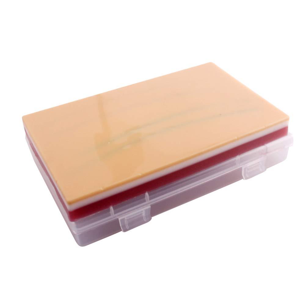 UKCOCO Almohadilla de Sutura de Piel Humana, 3 Capas de Silicona Reutilizable Modelo de Piel de Entrenamiento Médico para Lab Scientific Supplies Science Education