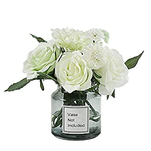 LeLehome Bridal Bouquet Flower Arrangement Home Decorative Real Touch Silk Artificial Flowers- Rose,for Daisy,Dahlia,Wedding Decoration,Hotel Party Garden-White Green 71