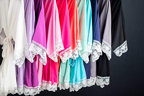 Solid Cotton Robes With White Lace Trim Available in 11 Colors by Ella Winston