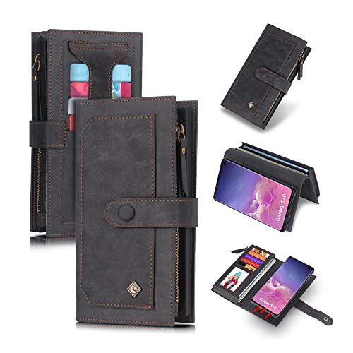 Galaxy S10 Flip Wallet Case,SXTBMR Leather Wallet Case Cover with ID+Card Holder Slot and Zipper Wallet Designed Detachable Magnetic Phone Case for Samsung Galaxy S10 2019 Phone (Black)