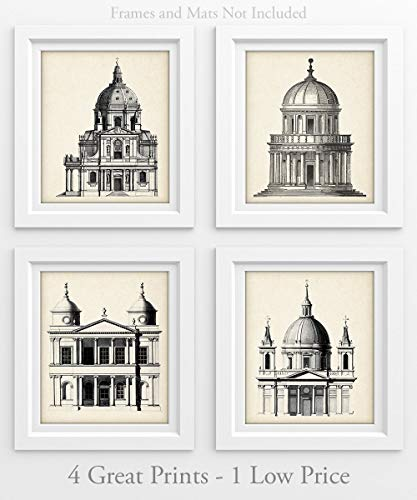 Architectural Dome Illustrations - Set of Four Prints (8x10) Unframed - Great for Living Room Decor or Gift to Architects and Engineers