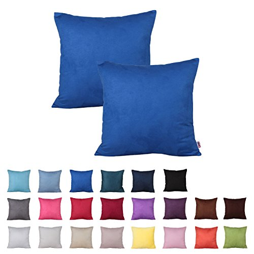 Queenie® - 2 Pcs Solid Color Faux Suede Series II Decorative Pillowcase Cushion Cover for Sofa Available in 22 Colors & 7 Sizes (15.75 x 15.75 Inch ( 40 x 40 cm), Color 20 Royal Blue)