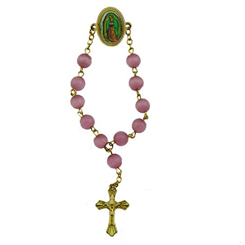 Cat Eye Rosary Crucifix (2pcs X Sacred Heart of Jesus Lapel Pin Rosary Brooch Pink Cat Eye Beads Crucifix (Gold))