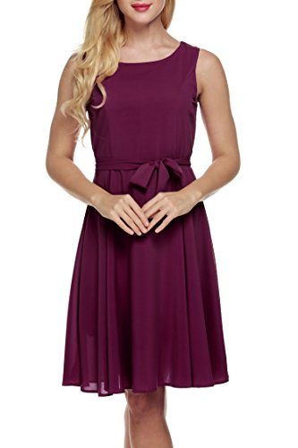 Line Chiffon Pleated Summer Purple With Cocktail Sleeveless Belt Party Women Dress A Zeagoo qXCa5n