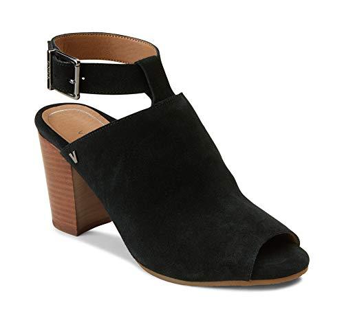 (Vionic Women's Perk Kaia Heel - Ladies Peep Bootie Stacked Heels with Concealed Orthotic Support Black 10 W US)