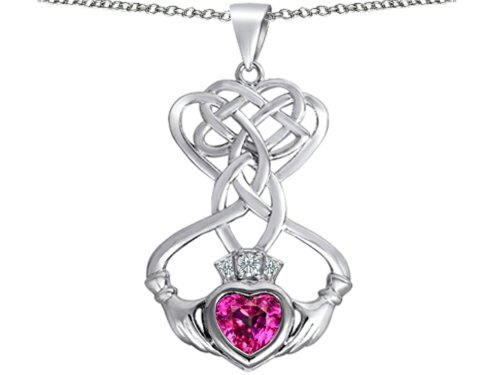 Star K Celtic Knot Claddagh Heart Pendant Necklace with Heart Shape Created Pink Sapphire Sterling Silver