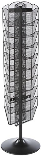 (Displays2go Rotating Magazine Rack, 20 Pockets with Dividers, Rotating (Black Steel))