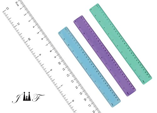 """12"""" Funny Flexible Ruler Assorted Colors Shatterproof with inches and Metric Scale. Ideal for Classroom School Office Home Arts & Crafts (4 Pack Assorted)"""