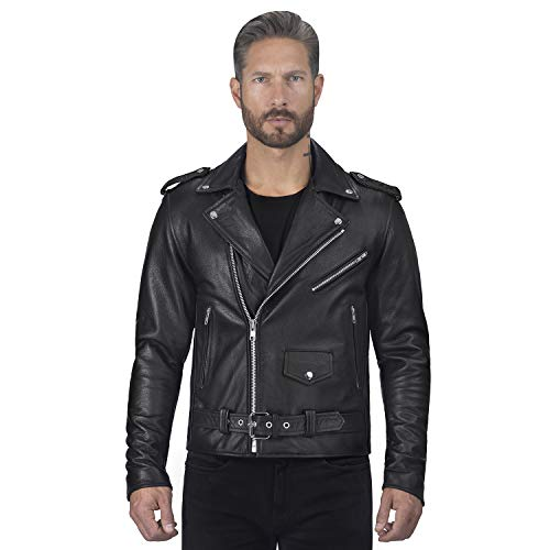 Viking Cycle Angel Fire Premium Grade Cowhide Leather Motorcycle Jacket for Men (Small) Black