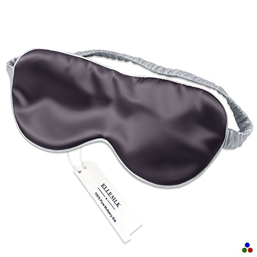 ELLESILK Mulberry Silk Sleep Eye Mask, Eye Cover for Night Sleeping, Blindfold, Comfortable and Super Soft, Blackout for Airplane Travel, Charcoal Gray/Silver