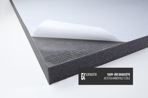 Akustikschaumstoff verhautet - PU SKIN 30 selbstklebend mit Schutzschicht - Schwarz 1000x500x30mm 0,5mq