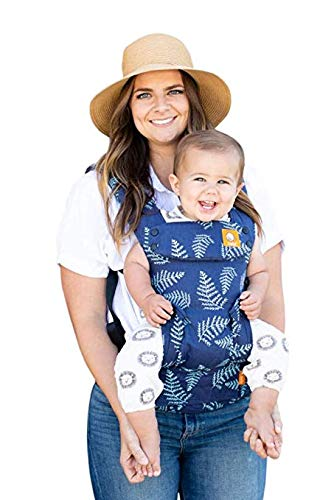 Baby Tula Explore Baby Carrier 7 â?? 45 lb, Adjustable Newborn to Toddler Carrier, Multiple Ergonomic Positions, Front and Back Carry, Easy-to-Use, Lightweight â?? Everblue, Blue with Teal Fern Leaves