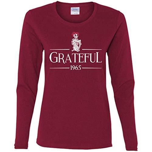 (Grateful Guinness Ladies Long Sleeve T-Shirt (Cardinal,)