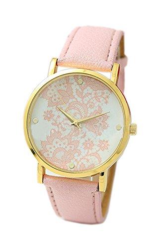 Reloj de pulsera - Geneva reloj de pulsera de encaje impreso para mujeres rosado