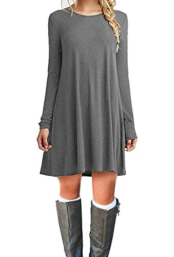Molerani Womens Long Sleeve Swing Loose Flowy Casual Tunic Shirt Mini Dress 0 Gray Medium