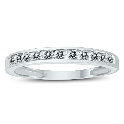 AGS Certified 1/2 Carat TW Channel Set Diamond Band in 10K White Gold ()