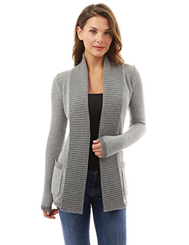 PattyBoutik Women's Open Front Marled Sweater Cardigan (Gray and White S) (Ribbed Open Cardigan)