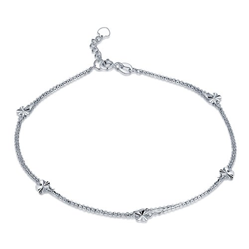 MaBelle 14K White Gold Plum Blossom Flower Charm Double Anchor Chain Anklet (9.25'') by MaBelle