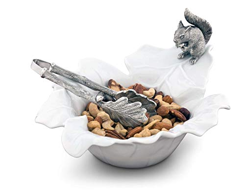 (Vagabond House Fine Porcelain Leaf Bowl with Pewter Squirrel 10