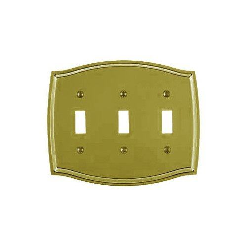 Colonial Lacquered Polished Brass - Baldwin 4780.030.CD Colonial Design Triple Toggle Switch Plate, Polished Brass - Lacquered by Baldwin