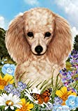 "Poodle Apricot Dog – Tamara Burnett Summer Flowers House Dog Breed Flag 28"" x 40"" For Sale"