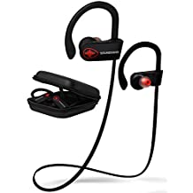 SoundWhiz Bluetooth Headphones W18 Turbo Wireless IPX7 Waterproof Sport Earbuds. Noise Canceling, Comfortable Secure Fit, Sweat Proof For Running Workouts & Gym. Mic for iPhone & Android + Zipper Case