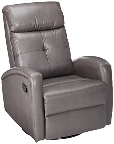 Full Leather Swivel Recliner Glider (Monarch I 8088Gy Swivel Glider Recliner, Charcoal Grey)