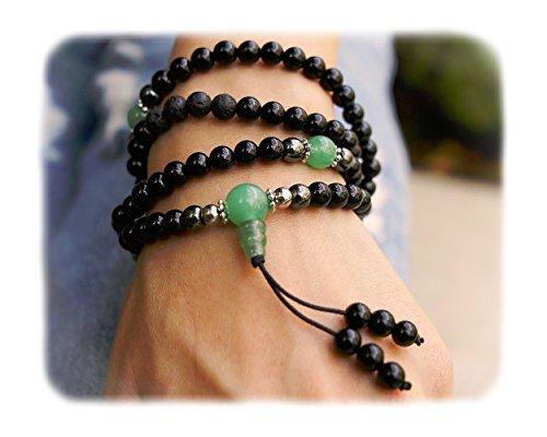 Mala Beads - Tibetan Mala Necklace - Buddhist Prayer Beaded Bracelet - 108 Semi Precious Gemstones Jewelry with Tassel for Mantra and Meditation - Yoga - Reiki - Chakra Stones (Mens Strand Bracelet)